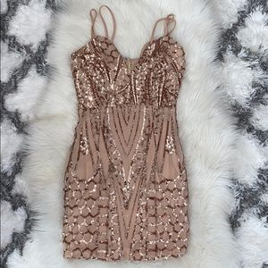 New rose gold sequin dress Small